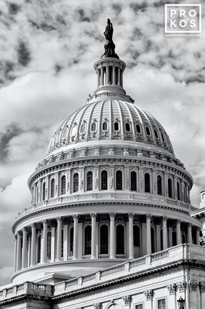 A black and white view of the dome of the U.S. Capitol building, Washington D.C.