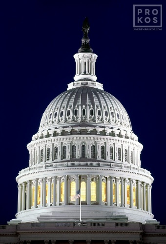 A fine art architectural photo of the United States Capitol dome at night, Washington D.C.