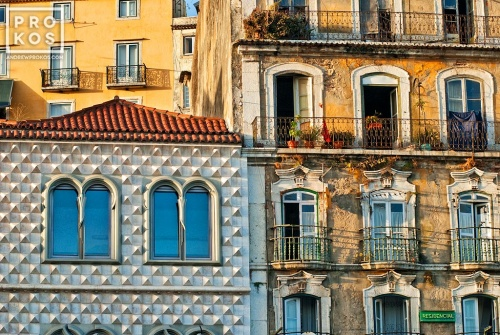 Facade of the Casa dos Bicos and adjoining building in the Alfama area of Lisbon