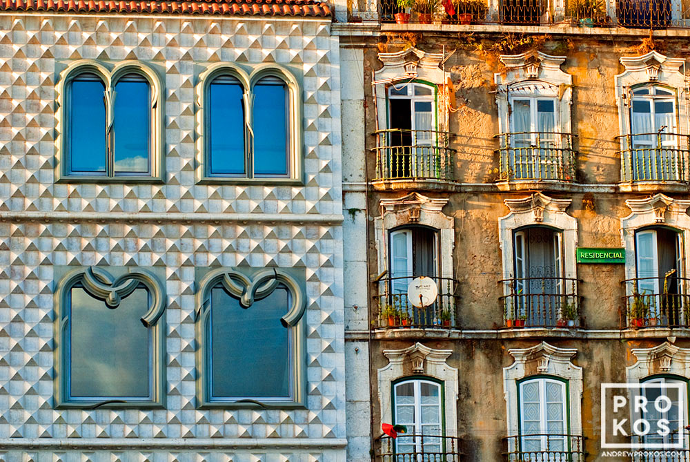 A close up view of he facades of the Casa dos Bicos and adjoining building in the Alfama area of Lisbon