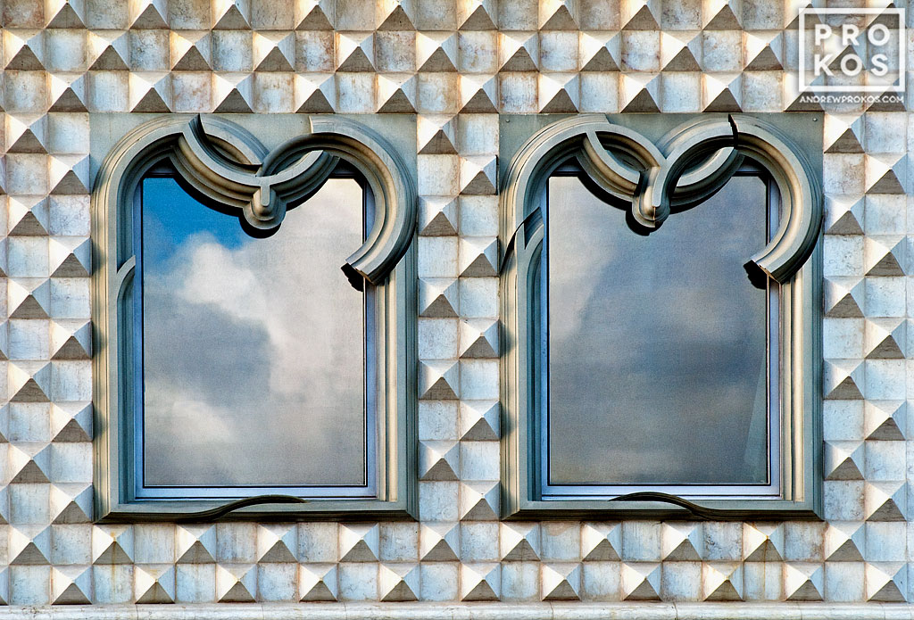 Manueline-style windows from the Casa dos Bicos, Lisbon, Portugal