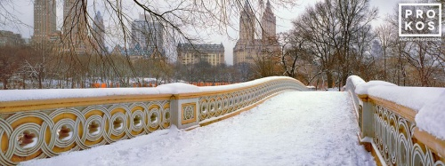 A color panoramic landscape photo of Central Park's Bow Bridge in winter