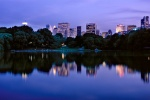 A panoramic landscape photo of Midtown Manhattan and the Lake at dusk, Central Park