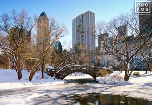A color landscape photo of Central Park's Gapstow Bridge and Pond in Winter, with the Manhattan skyline in the background, New York City