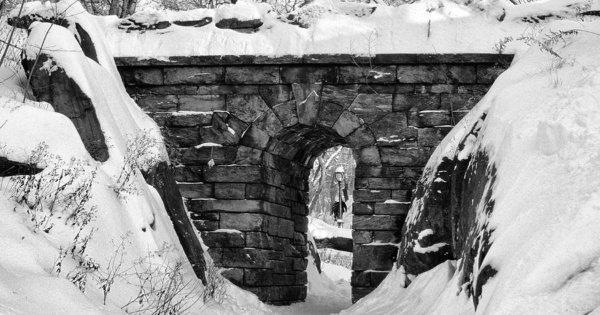 Rustic Stone Arch in Winter, Central Park