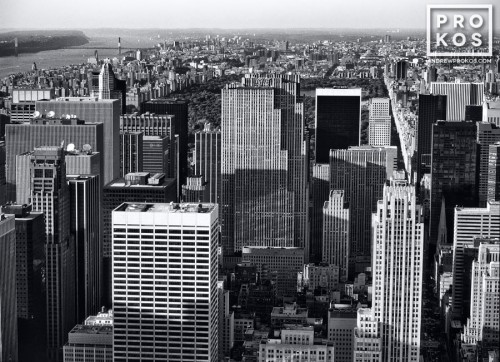 An aerial view of the skyscrapers of Midtown Manhattan, including Rockefeller Center, New York City