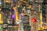 A high definition panoramic city view of the skyscrapers of Chicago at night, taken from the top of Hancock Center. Available as large-scale limited edition prints 90+ inches in width.