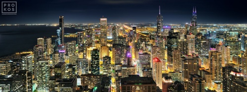 An ultra-high definition panoramic city view of Chicago, Willis Tower and Lake Michigan at night, taken from the top of Hancock Center. Available as large-scale limited edition prints 150+ inches in width.