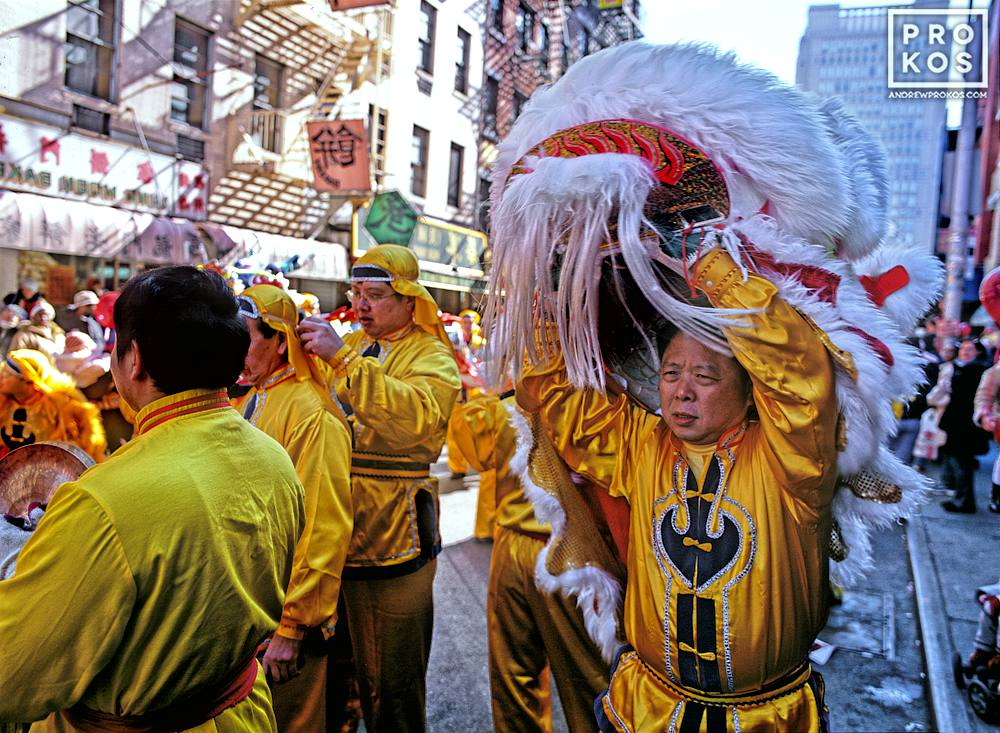 Man in a Lion costume during Lunar New Year, Chinatown, New York City