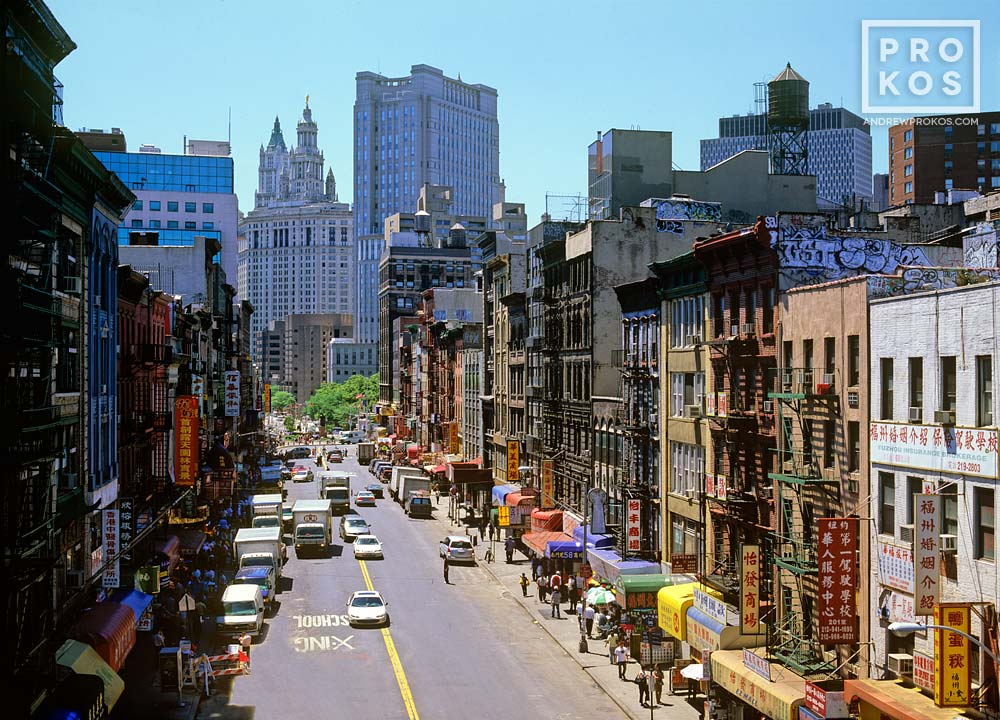 A color street scene photo of East Broadway in Chinatown, New York City