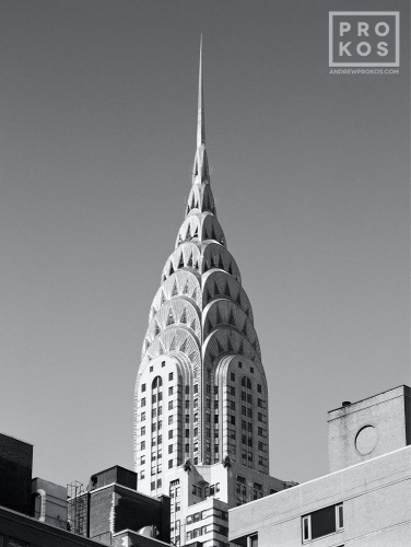 A view of the spire of the Chrysler Building in black and white, New York City