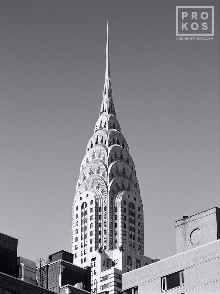 A view of the Chrysler Building in black and white, New York City