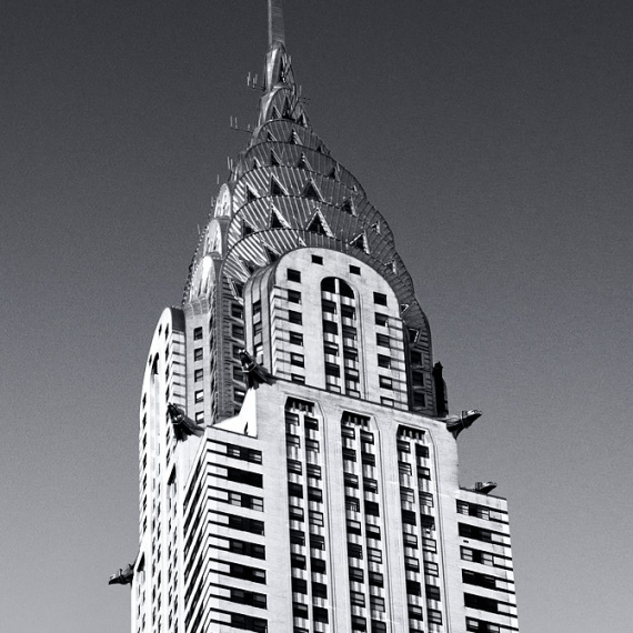 A black and white fine art architectural photograph of the Chrysler Building spire, New York City
