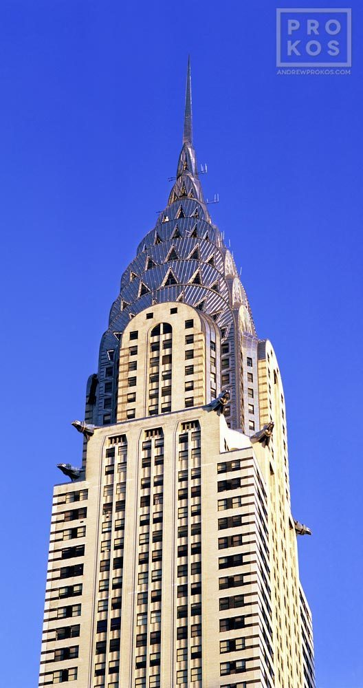 An architectural fine art photo of the Chrysler Building spire during the daytime, New York City