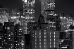 "An ultra high-definition vertical cityscape photo of Midtown Manhattan and the Chrysler Building at night in black and white. Large-scale fine art prints of this photo are available in sizes up to 96"" in height."