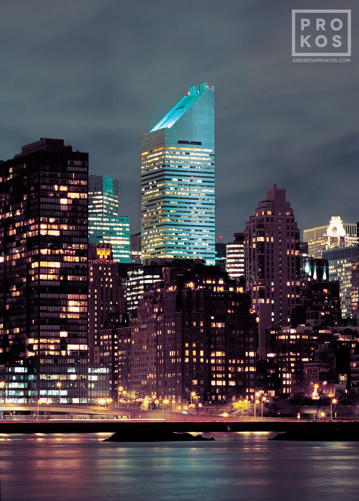 A long-exposure photo of Citicorp Tower and the Manhattan skyline at night, New York City.