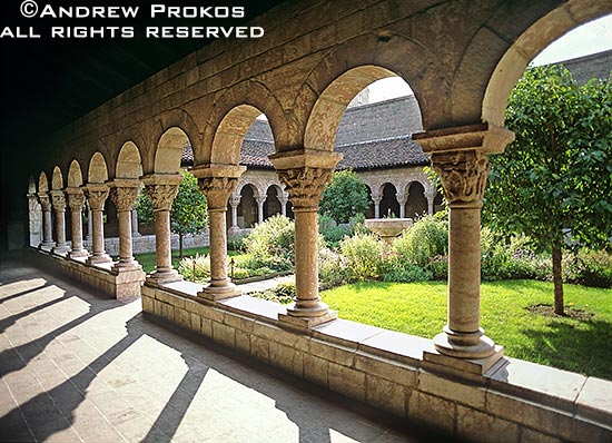 Courtyard of the Cuxa Cloister in New York's Cloisters Museum