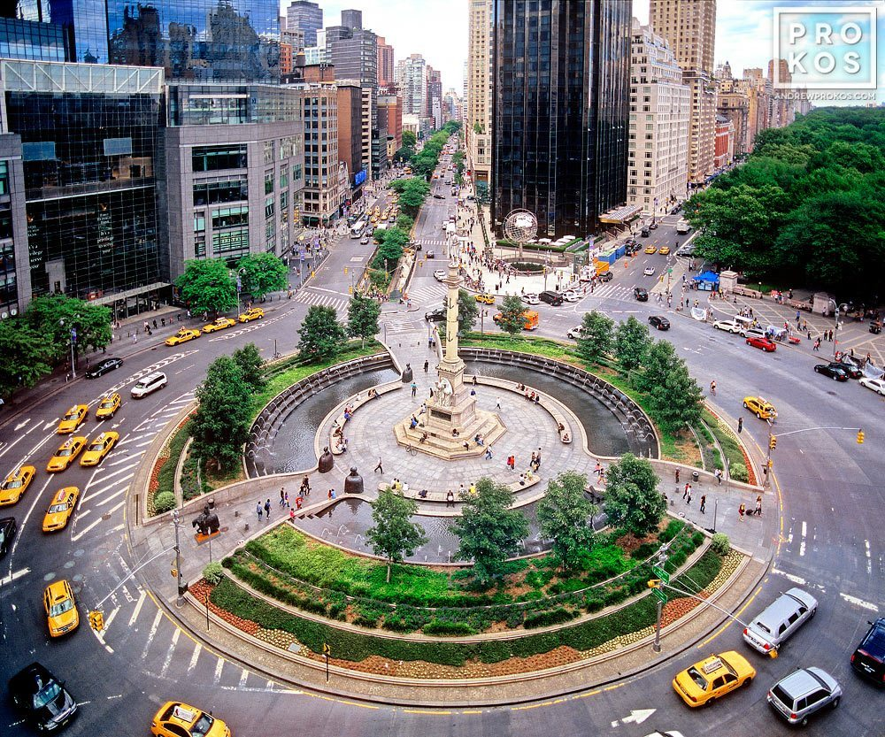 An elevated view of New York's Columbus Circle from above. Fine art prints of this photo are available framed in various styles.