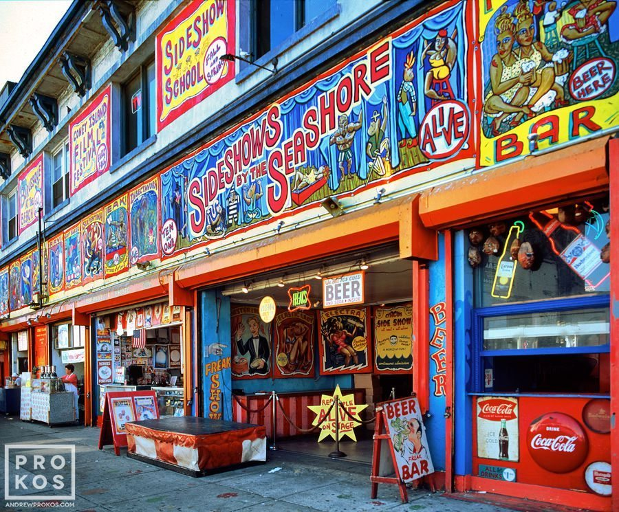 The colorful painted freakshow signs at Coney Island, Brooklyn, New York