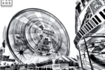 A large-format black and white fine art photograph of Coney Island from Andrew's fine art series Inverted.