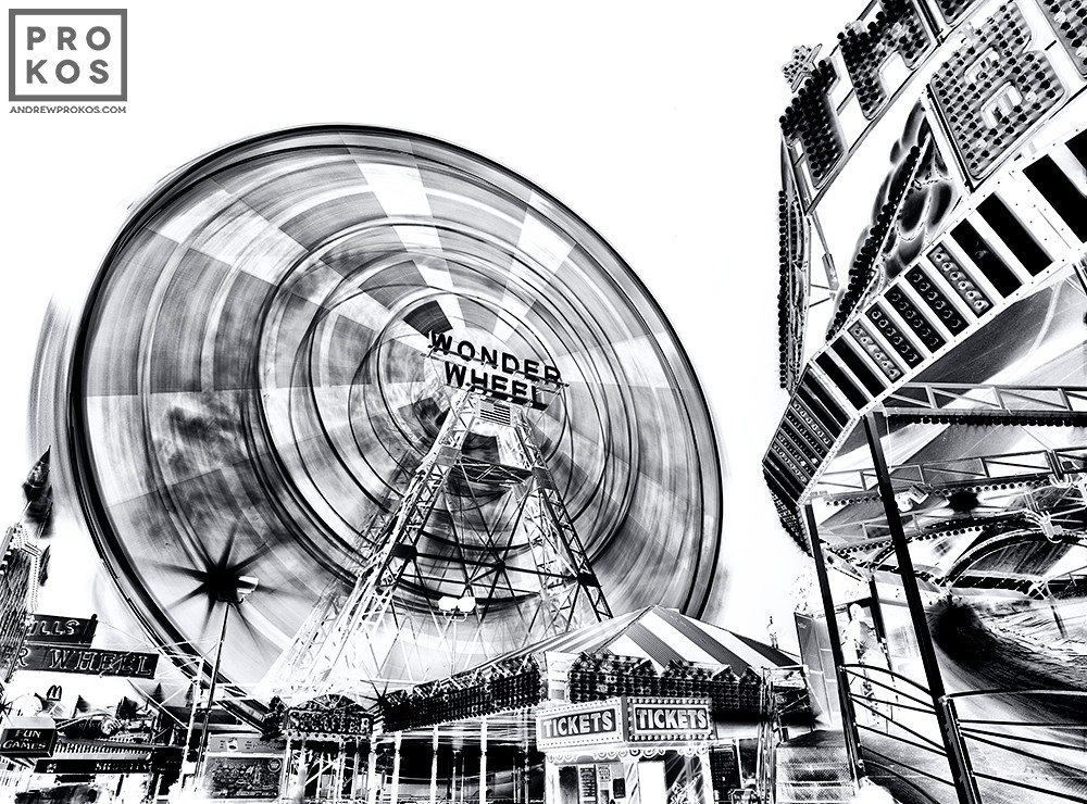 A large-format black and white fine art photograph of the Wonder Wheel at Coney Island from Andrew's fine art series Inverted.