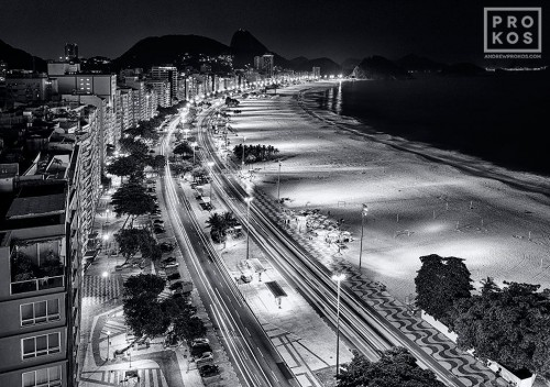 A view of Copacabana beach at night in black and white, Rio de Janeiro.