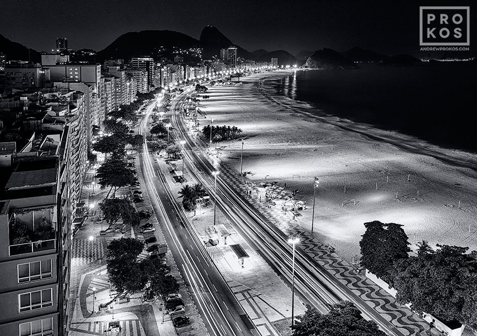 Elevated view of copacabana at night bw