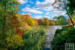 An Autumn landscape photo of the Lake in Central Park, New York City