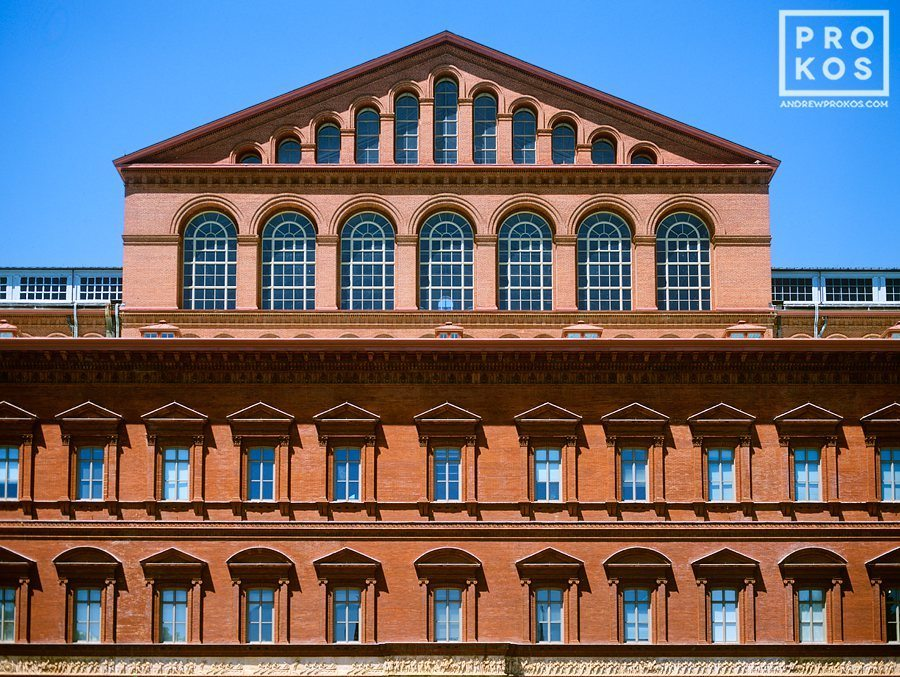The red brick facade of the National Building Museum, Washington DC