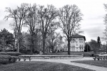 A black and white panoramic landscape photo of Chevy Chase Circle in Washington DC