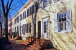 A view of the historic Colonial row houses along N Street in Georgetown, Washington DC