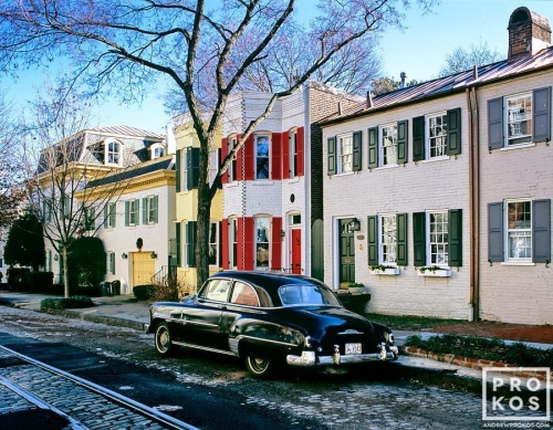 A street scene photo of O Street in Georgetown, Washington DC