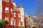 An architectural photo of the historic row houses along P Street in Georgetown, Washington DC