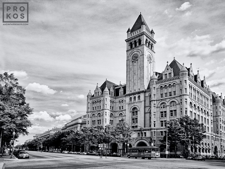A view of the Old Post Office from Pennsylvania Avenue in black and white, Washington DC