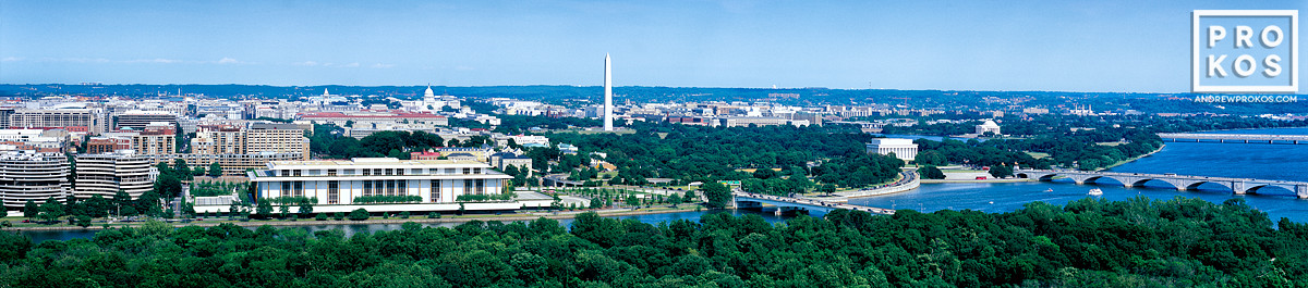 A panoramic skyline photograph of Washington DC and the Potomac River as seen from Virginia.