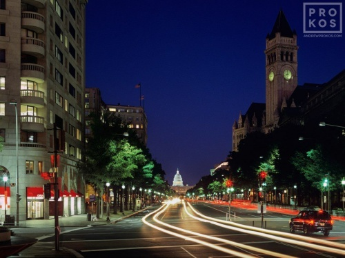 A long-exposure city photo of Pennsylvania Ave at night, Washington DC