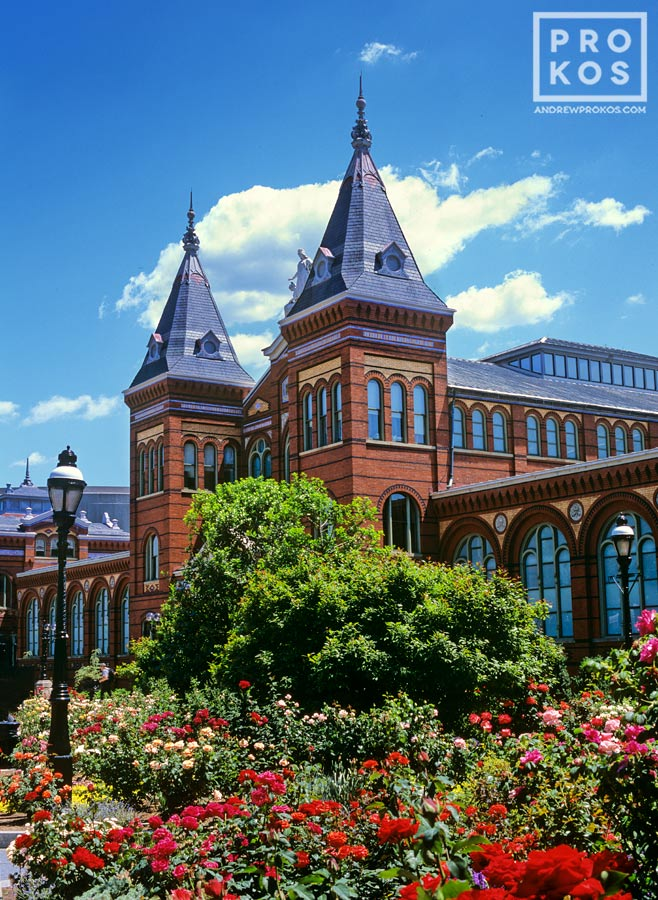 A view of the Smithsonian Museum Arts and Industries Building from the rose garden, Washington DC