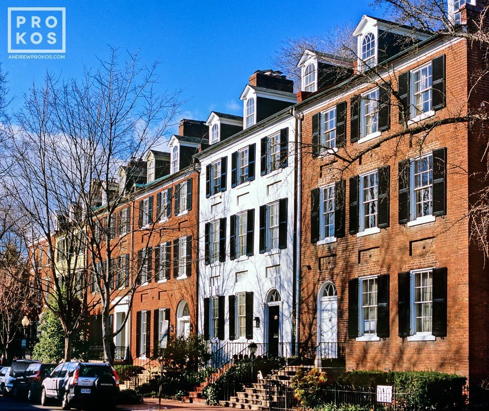 A view of the historic Colonial row houses along O Street in Georgetown, Washington DC