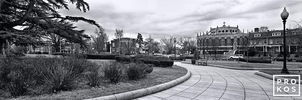 A large-format panoramic landscape photo of Grant Circle, Washington DC in black and white