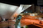 Exterior of the Denver Art Museum at night, Colorado.