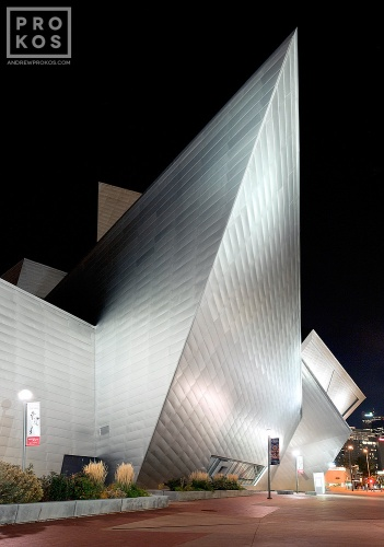 Exterior view of the Denver Art Museum at night, Denver, Colorado