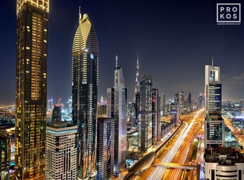 A night skyline of the skyscrapers along Sheikh Zayed Road, Dubai, UAE