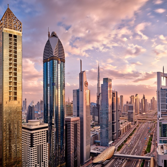 A view of the skyscrapers along Sheikh Zayed Road at sunset, Dubai, UAE