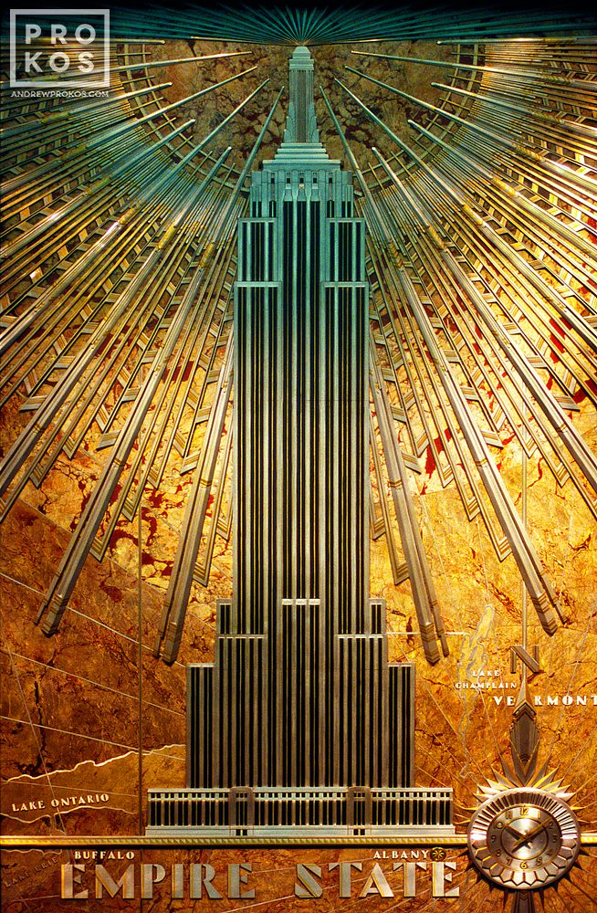 An Art Deco decorative relief from the interior of the Empire State Building, New York City
