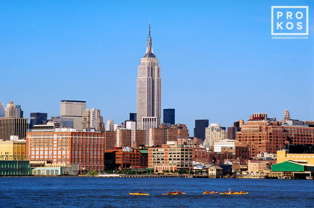A view of the Empire State Building, Manhattan, and the Hudson River from New Jersey