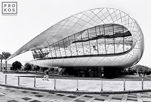 A black and white photo of the contemporary architecture of the Etihad Museum, Dubai, UAE