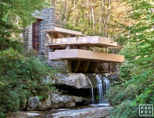 A long-exposure fine art architectural photo of Fallingwater, the modernist home designed by architect Frank Lloyd-Wright in Pennsylvania. Fallingwater became a UNESCO World Heritage Site in July 2019.