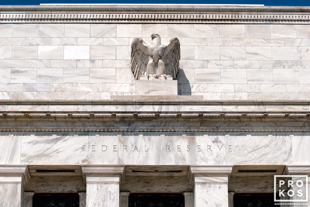 An architectural detail photo of the facade of the Federal Reserve building, Washington DC