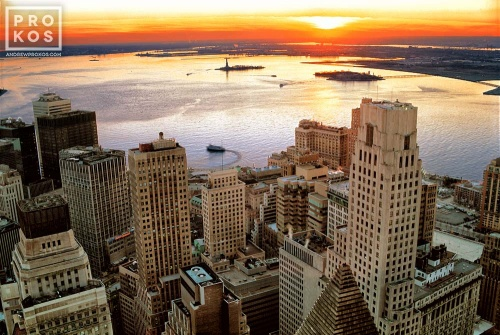 Aerial View of Lower Manhattan Skyscrapers and New York Harbor at Sunset I