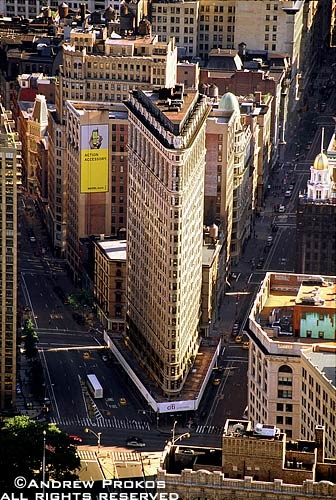 An aerial view of the Flatiron Building and surrounding buildings in Manhattan, NYC
